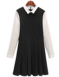 Fashion large size women Long sleeves Square collar Splicing Was thin Dress