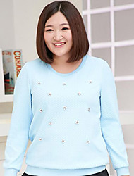 MsShe Women's Plus Size / Casual/Daily Simple Long HoodiesJacquard Blue / Pink Round Neck Long Sleeve Polyester Fall Medium Micro-elastic
