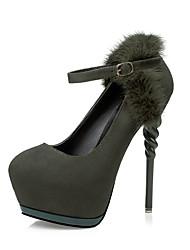 Damen-High Heels-Kleid-Wildleder-Stöckelabsatz-Komfort-Schwarz / Grün / Grau