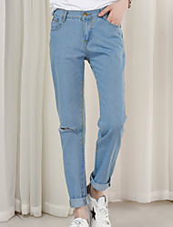 Women's Straight Loose Jeans PantsGoing out Street chic Solid High Rise Button Cotton Micro-elastic Winter
