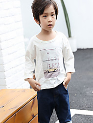 Boy Casual/Daily Print Shirt,Cotton Fall Long Sleeve Regular