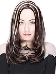 longue brune cheveux raides et des perruques de couleur synthétiques mixtes blondes pour les femmes