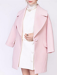 Women's Going out / Party/Cocktail / Holiday Cute / Street chic Pea Coats,Solid Shirt Collar Long Sleeve Winter Pink Wool Medium