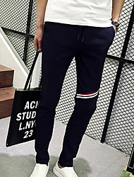 Men's Skinny Chinos Pants,Casual/Daily Simple Solid Low Rise Drawstring Cotton / Polyester Micro-elastic Spring