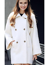 Women's Going out / Casual/Daily / Work Cute Coat,Solid Shirt Collar Long Sleeve Fall / Winter Blue / White / Black Wool Medium