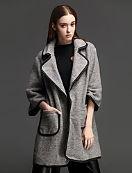 ANGEL Women's Casual/Daily Simple CoatSolid Long Sleeve Winter Gray Others Thick