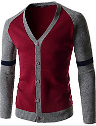 Men's Going out Simple Regular Cardigan,Color Block Blue Red Green V Neck Long Sleeve Polyester Fall Medium Micro-elastic