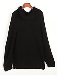 Normal Pullover Femme Décontracté / Quotidien Chic de Rue,Couleur Pleine Noir Col Roulé Manches Longues Polyester Hiver Fin