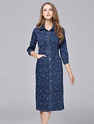 Denim Robe Femme Décontracté / Quotidien simple,Imprimé Col de Chemise Midi Manches ¾ Bleu Coton Automne / Hiver Taille Normale