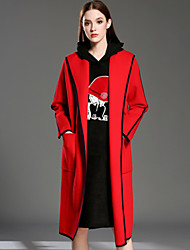 INPLUS LADY Women's Casual/Daily Vintage Long CardiganSolid Red / Black / Green Hooded Long Sleeve Rayon / Acrylic Winter Thin Inelastic