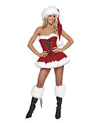 Costumes de Cosplay Costumes de père noël Fête / Célébration Déguisement Halloween Rouge Mosaïque Robe / Plus d'accessoires Noël Féminin