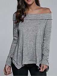 Damen Solide Sexy Ausgehen / Strand T-shirt,Bateau Frühling / Herbst Langarm Grau Baumwolle / Kunstseide Dünn