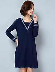 Women's Plus Size Simple Loose Dress,Solid Boat Neck Above Knee Long Sleeve Blue Linen Summer Mid Rise Inelastic Medium