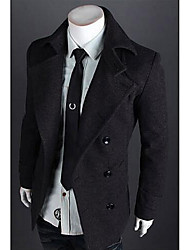 Men's Casual/Daily / Work Simple Trench Coat,Solid Classic Collar Long Sleeve All Seasons Pink / Red / White / Black / Gray Cotton Medium