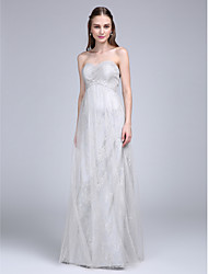 2017 Lanting Bride® Floor-length Lace / Tulle Bridesmaid Dress - Sweetheart with Criss Cross