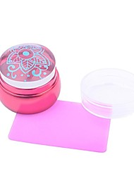 1Set  3.5cm Lovely Chess Silicone Jelly Nail  Scraper with Cap Red Handle
