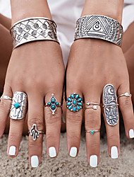 Midi Rings Turquoise Turquoise Alloy Flower Carved Fashion Silver Jewelry Party Halloween Daily Casual 1set