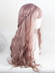 New Arrival 65cm Milky Lavender National Looking Long Curly Wig For Women U Part Harajuku Lolita Hair Wigs With Bangs