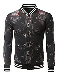 Men's Casual/Daily Simple Leather JacketsSolid Stand Long Sleeve Fall / Winter Black  Thick Hot Sale High Quality Brand Fashion