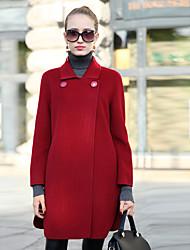 Damen Solide Einfach Lässig/Alltäglich Mantel,Herbst / Winter V-Ausschnitt Langarm Blau / Rot / Gelb Mittel Polyester