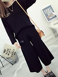 Damen Standard Pullover-Ausgehen Lässig/Alltäglich Anspruchsvoll Solide Rosa Schwarz Grau Lila Rundhalsausschnitt Langarm Acryl Polyester