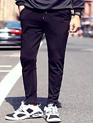 Masculino Solto Chinos Calças-Cor Única Trabalho Simples Cintura Média Com Cordão Algodão Micro-Elástico All Seasons