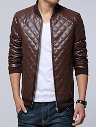 Men's Casual/Daily Simple Leather Jackets,Solid Stand Long Sleeve Fall / Winter Multi-color Cowhide Medium / Thick