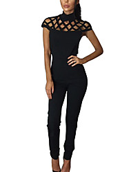 Women's Jumpsuits,Casual/Daily Simple Solid Mesh Crew Neck Short Sleeve Nylon Spring