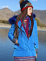 Our Story Women's Padded CoatBoho Casual/Daily Print-Polyester Polyester Long Sleeve Hooded Blue