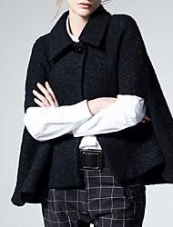 Mujer Vintage / Sofisticado Casual/Diario / Vacaciones Un Color Capa / Capes Sin Mangas Otoño / Invierno Algodón / Poliéster Negro Grueso