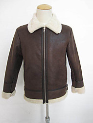 Men's Going out / Casual/Daily Vintage / Simple Jackets,Solid Round Neck Long Sleeve Winter Brown Faux Fur Medium