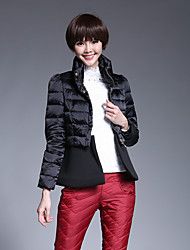 Women's Short Down Coat,Simple Casual/Daily Solid-Cotton White Duck Down Long Sleeve Red / Black