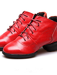 Non Customizable Women's Dance Shoes Leather Leather Latin / Jazz / Modern Sneakers Cuban Heel Professional / Performance Black / Red