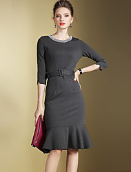 Women's Beach / Holiday Street chic / Sophisticated Bodycon Dress,Solid Round Neck Knee-length Long Sleeve Black / Gray Cotton All Seasons