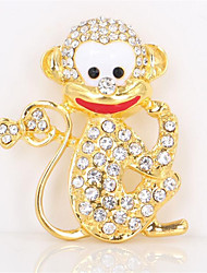 Fashion Gold Plated Alloy Rhinestone Brooch Lovely Monkey Shape Brooches for Gifts