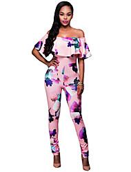 Women's Pink Floral Off Shoulder Jumpsuit