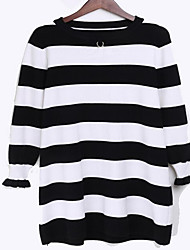 Women's Going out / Beach / Holiday Sexy / Cute / Chinoiserie Loose Dress,Solid Round Neck Knee-length Long Sleeve Red / BlackBamboo