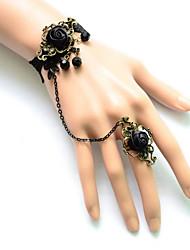 Lolita Jewelry Gothic Lolita Bracelet/Bangle Lolita Black Lolita Accessories Bracelet / Ring Lace For Women Satin / Lace / Alloy