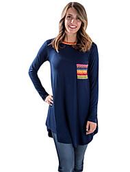 Damen Geometrisch Einfach T-shirt,Rundhalsausschnitt Winter Langarm Blau / Rot / Schwarz / Grün Baumwolle Undurchsichtig / Mittel