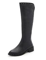Women's Boots Winter Platform PU Casual Low Heel Beading Black Walking