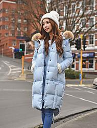 DABUWAWA Women's Long Down Coat,Cute / Street chic / Sophisticated Going out / Casual/Daily / Holiday Solid-Faux Fur / Raccoon FurWhite Duck Down