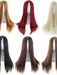 couleur mulit pas cher choisir la longueur moyenne droite rouge brun cheveux naturels résistant à la chaleur de la mode quotidienne
