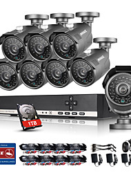 ANNKE® 8CH HDMI DVR 1080N HD Video 1.0MP Night Vision IR Security Camera System Built-in 1TB HDD