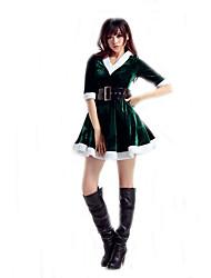 Disfraces de Cosplay Disfraces de Santa Cosplay de Películas Rojo / Verde Un Color Vestido / Cinturón Navidad Mujer Poliéster