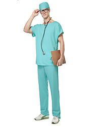 Fantasias de Cosplay Enfermeiras Cosplay de Filmes Verde Cor Única Blusa / Calças Masculino Poliéster