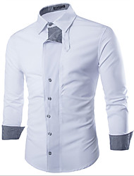 Men's Casual/Daily Simple Shirt,Color Block Square Neck Long Sleeve White / Black Cotton