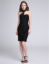 LAN TING BRIDE Knee-length Halter Bridesmaid Dress - Little Black Dress Sleeveless Jersey