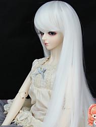 synthétique 37cm longue couleur blanche droite pour 1/3 1/4 bjd accessoires non sd dz msd poupée perruque pour adulte humain
