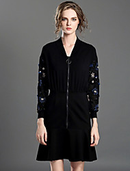 INPLUS LADY Women's Casual/Daily Chinoiserie Trumpet/Mermaid DressEmbroidered V Neck Above Knee Long Sleeve Black Polyester / Nylon / Spandex Fall