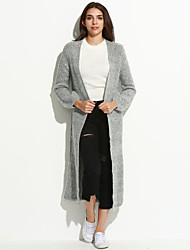 Women's Going out Simple Long Cardigan,Solid Gray / Yellow V Neck Long Sleeve Cashmere / Cotton Medium